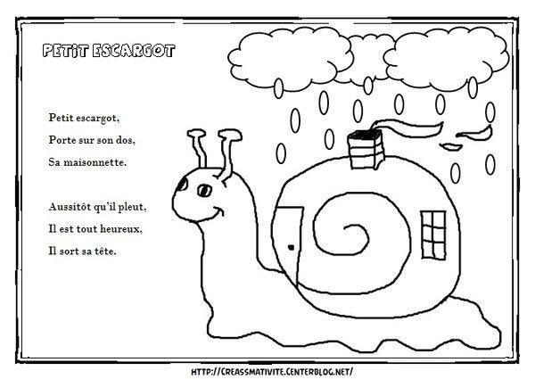 Illustration petit escargot petit escargot - Parole petit escargot porte sur son dos ...