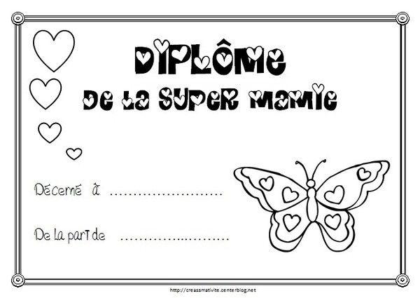 Diplome de la super mamie - Dessin fete des grand meres ...
