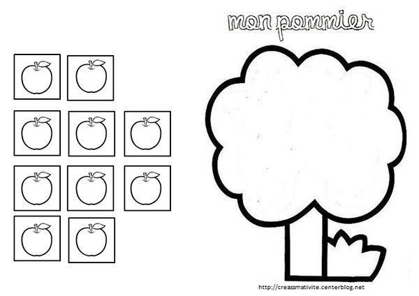 Coloriage dessin memory automne pomme raisin champignon - Pommier coloriage ...