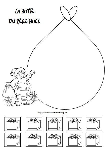 La Hotte Du Père Noël Colorier Découper Coller