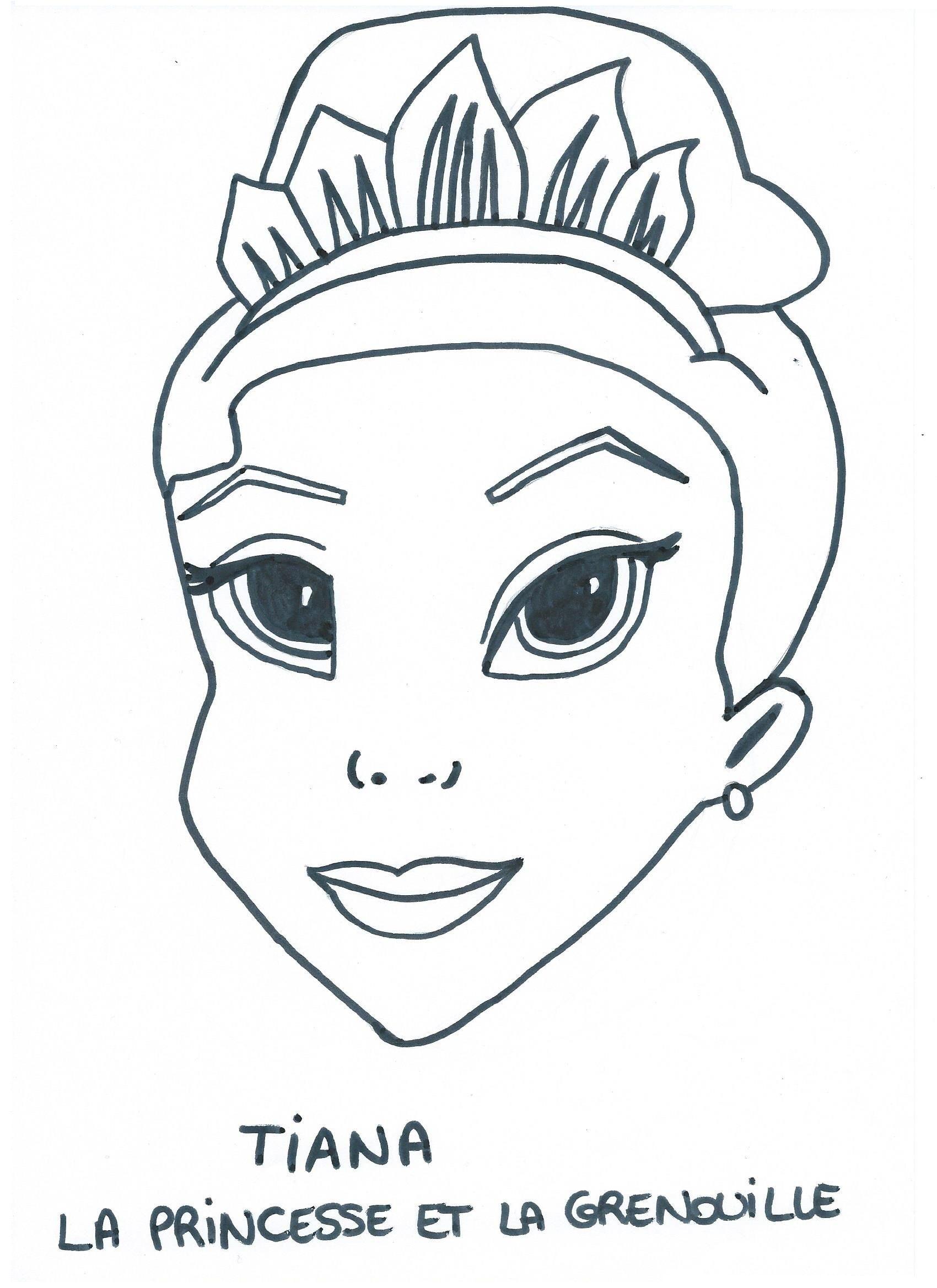 Masque tiana dans la princesse et la grenouille - Coloriage la princesse et la grenouille ...
